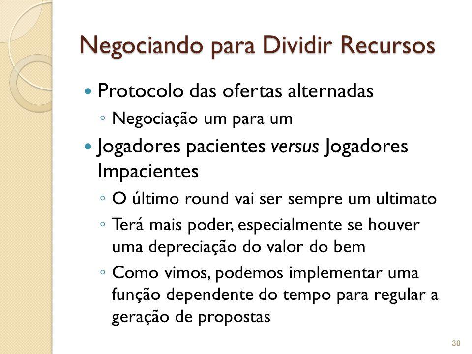 Negociando para Dividir Recursos Protocolo das ofertas alternadas ◦ Negociação um para um Jogadores pacientes versus Jogadores Impacientes ◦ O último