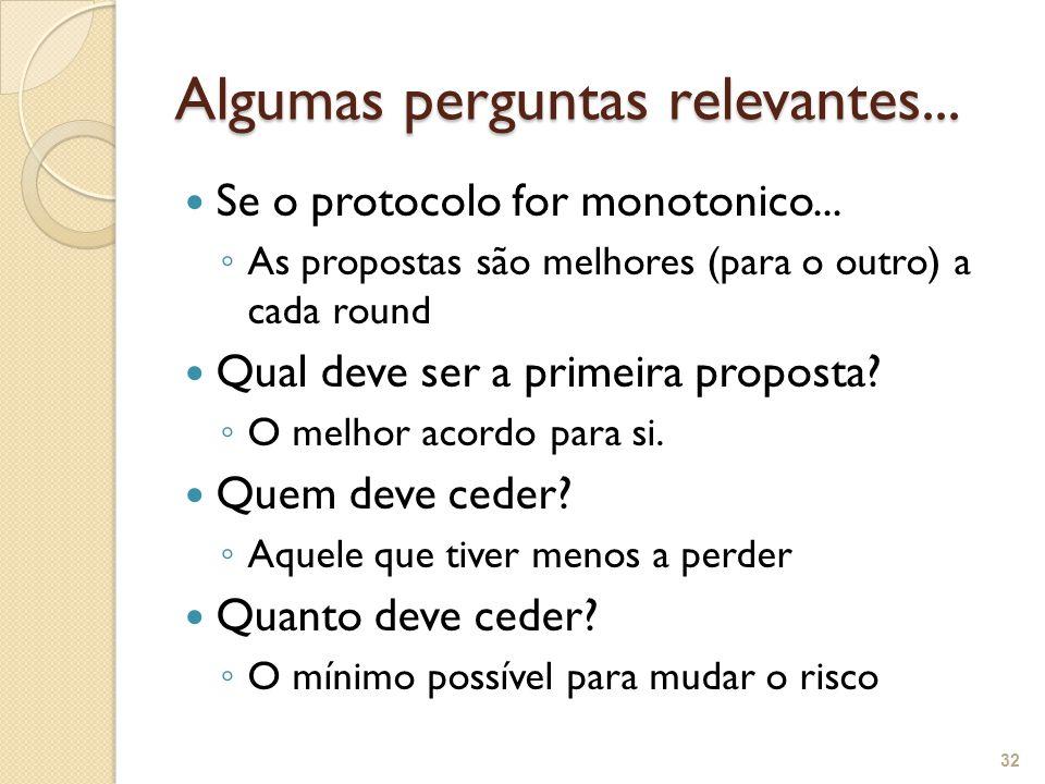 Algumas perguntas relevantes... Se o protocolo for monotonico... ◦ As propostas são melhores (para o outro) a cada round Qual deve ser a primeira prop