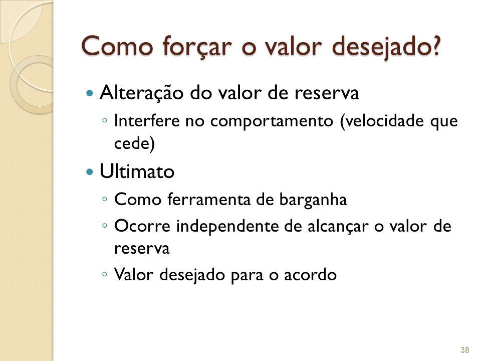 Como forçar o valor desejado? 38 Alteração do valor de reserva ◦ Interfere no comportamento (velocidade que cede) Ultimato ◦ Como ferramenta de bargan