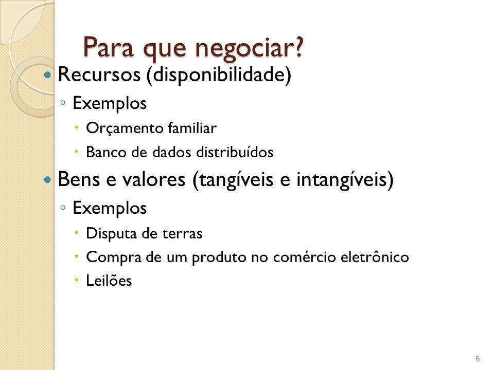 Para que negociar? Recursos (disponibilidade) ◦ Exemplos  Orçamento familiar  Banco de dados distribuídos Bens e valores (tangíveis e intangíveis) ◦