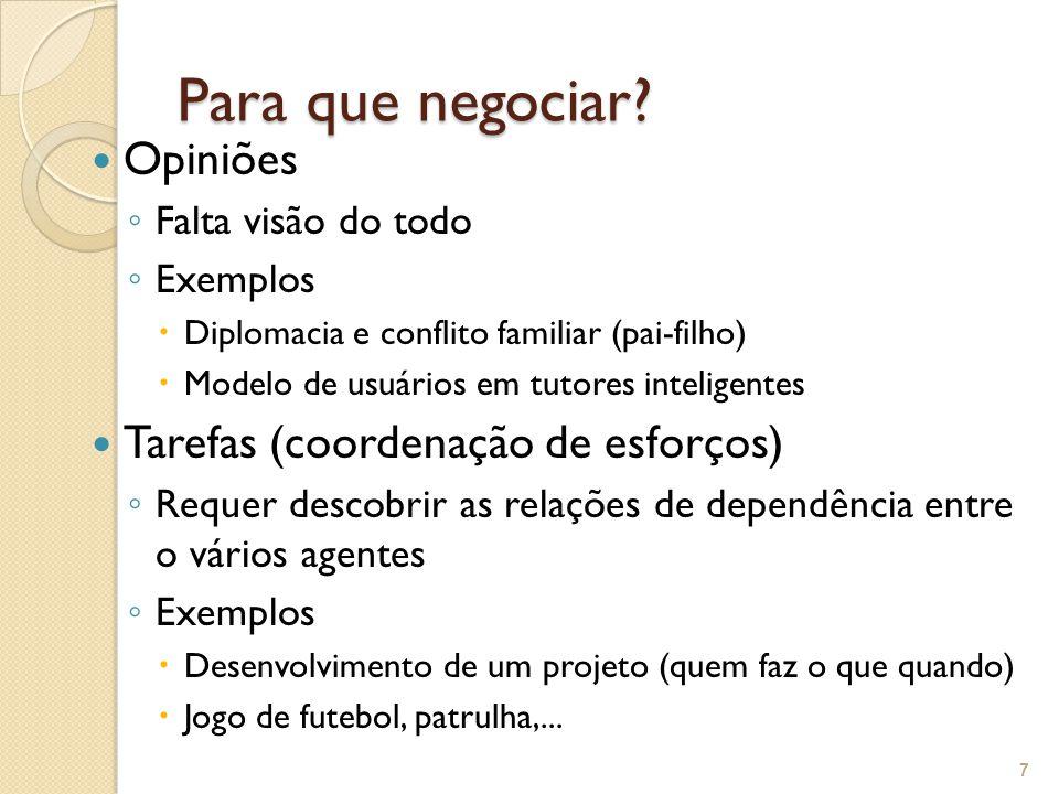 Para que negociar? Opiniões ◦ Falta visão do todo ◦ Exemplos  Diplomacia e conflito familiar (pai-filho)  Modelo de usuários em tutores inteligentes