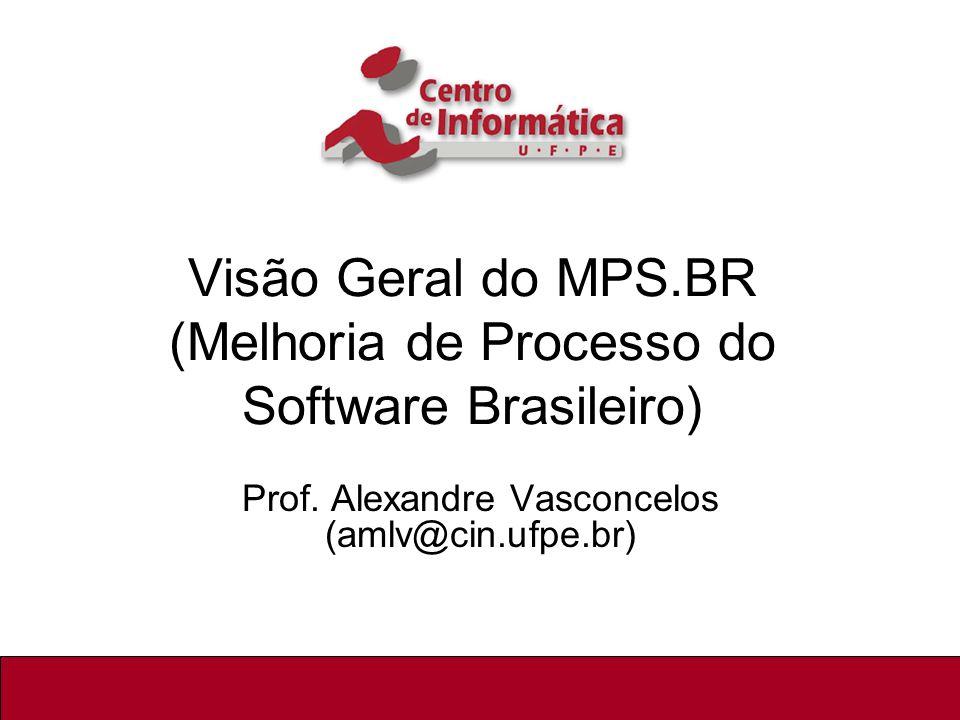 1/92 Visão Geral do MPS.BR (Melhoria de Processo do Software Brasileiro) Prof. Alexandre Vasconcelos (amlv@cin.ufpe.br)