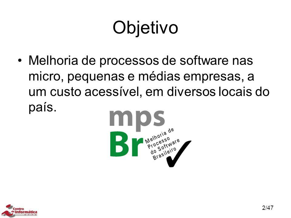 Objetivo Melhoria de processos de software nas micro, pequenas e médias empresas, a um custo acessível, em diversos locais do país. 2/47