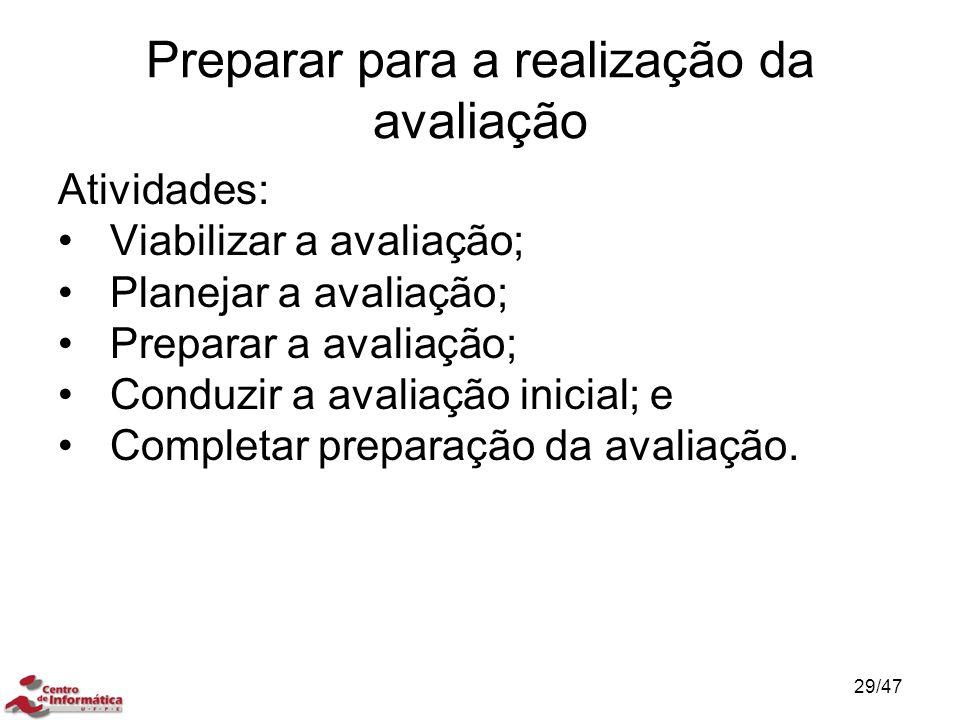 Preparar para a realização da avaliação Atividades: Viabilizar a avaliação; Planejar a avaliação; Preparar a avaliação; Conduzir a avaliação inicial;