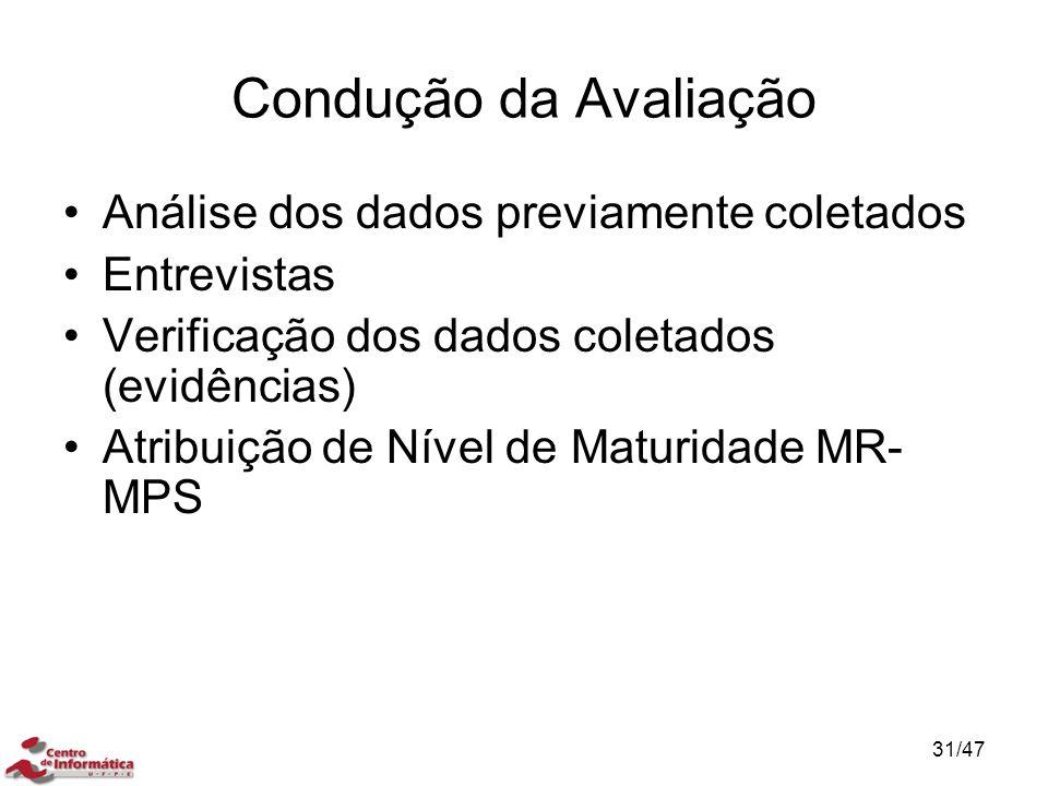 Condução da Avaliação Análise dos dados previamente coletados Entrevistas Verificação dos dados coletados (evidências) Atribuição de Nível de Maturida