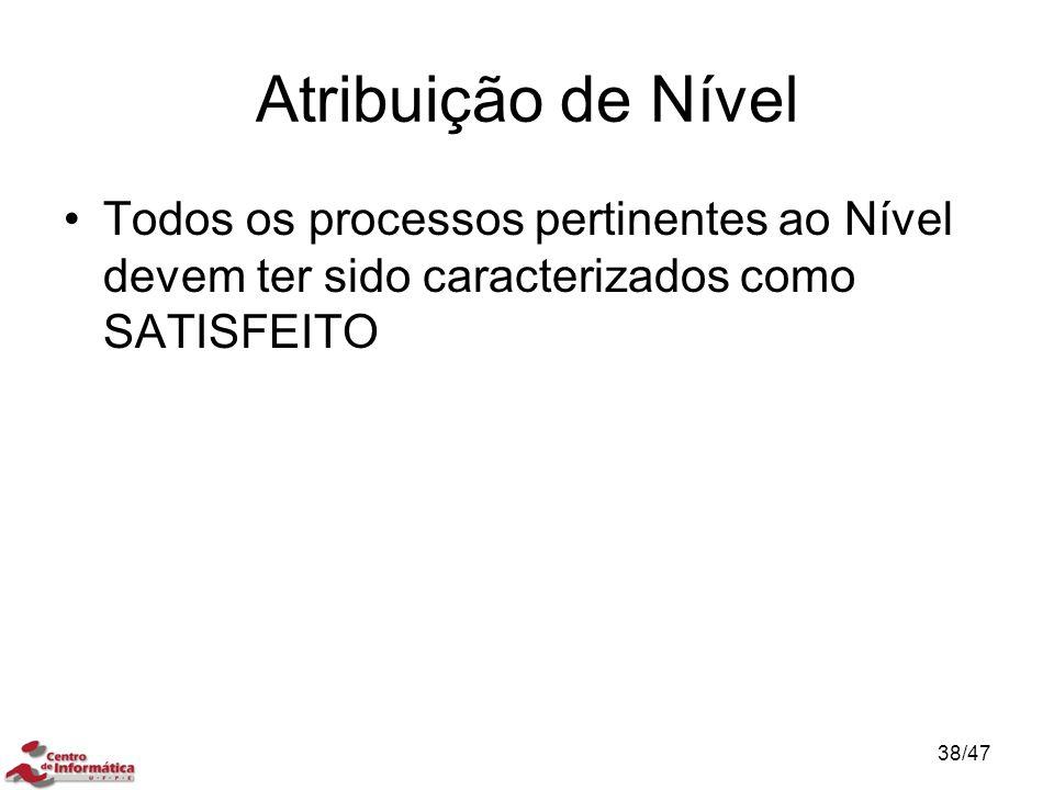 Atribuição de Nível Todos os processos pertinentes ao Nível devem ter sido caracterizados como SATISFEITO 38/47