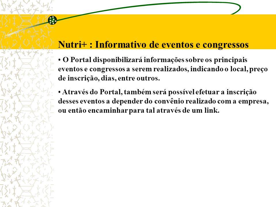 Nutri+ : Informativo de eventos e congressos O Portal disponibilizará informações sobre os principais eventos e congressos a serem realizados, indicando o local, preço de inscrição, dias, entre outros.