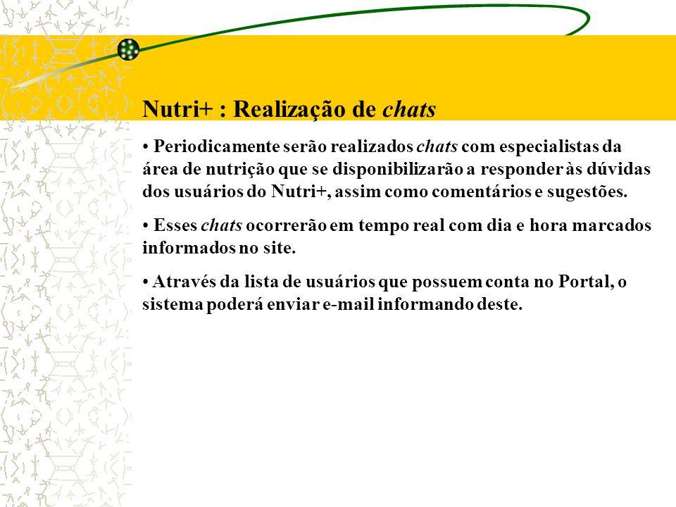 Nutri+ : Realização de chats Periodicamente serão realizados chats com especialistas da área de nutrição que se disponibilizarão a responder às dúvidas dos usuários do Nutri+, assim como comentários e sugestões.