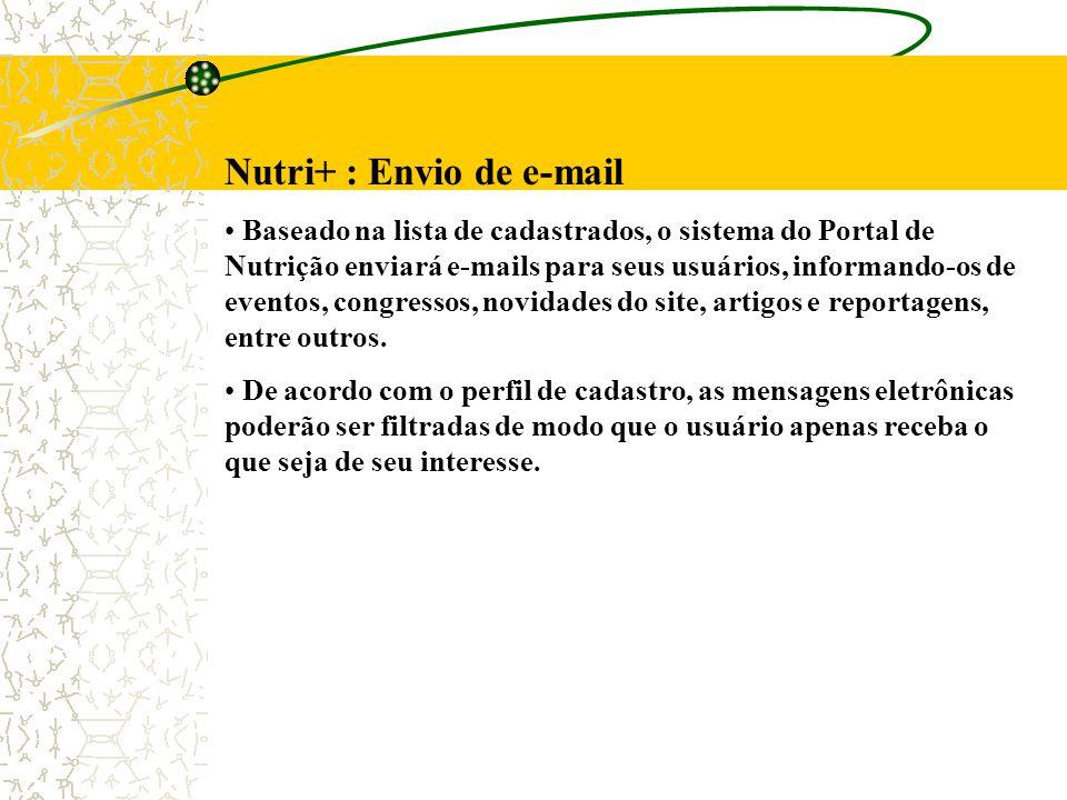 Nutri+ : Envio de e-mail Baseado na lista de cadastrados, o sistema do Portal de Nutrição enviará e-mails para seus usuários, informando-os de eventos, congressos, novidades do site, artigos e reportagens, entre outros.