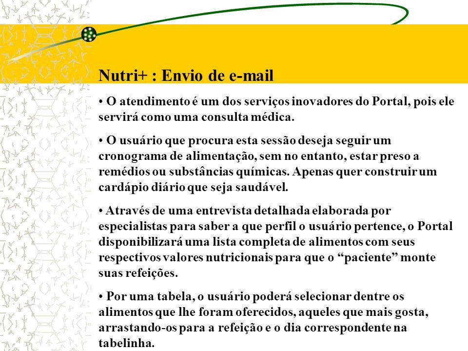 Nutri+ : Envio de e-mail O atendimento é um dos serviços inovadores do Portal, pois ele servirá como uma consulta médica. O usuário que procura esta s