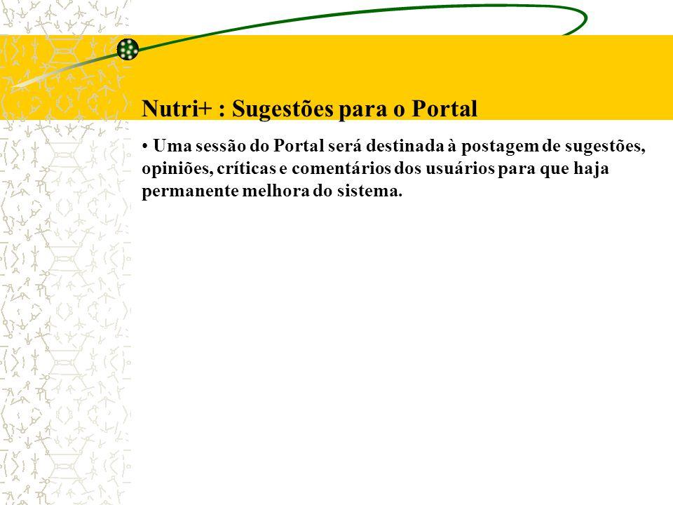 Nutri+ : Sugestões para o Portal Uma sessão do Portal será destinada à postagem de sugestões, opiniões, críticas e comentários dos usuários para que haja permanente melhora do sistema.