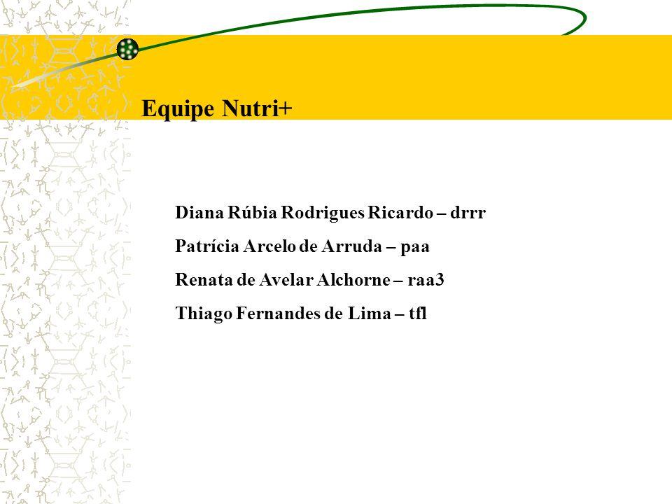 Equipe Nutri+ Diana Rúbia Rodrigues Ricardo – drrr Patrícia Arcelo de Arruda – paa Renata de Avelar Alchorne – raa3 Thiago Fernandes de Lima – tfl