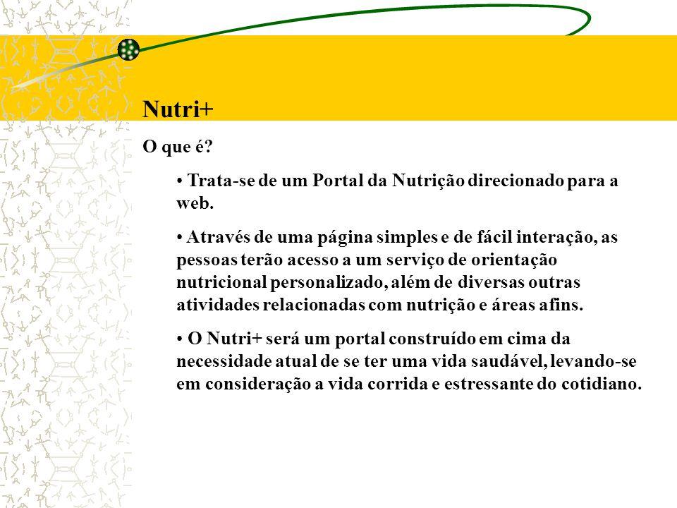 Nutri+ O que é? Trata-se de um Portal da Nutrição direcionado para a web. Através de uma página simples e de fácil interação, as pessoas terão acesso
