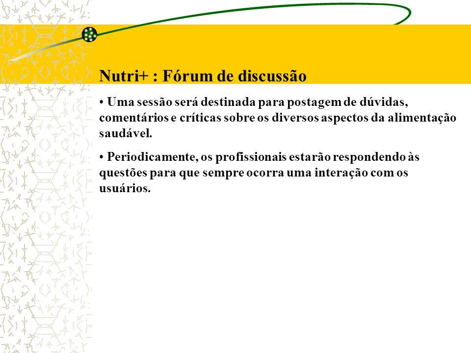 Nutri+ : Fórum de discussão Uma sessão será destinada para postagem de dúvidas, comentários e críticas sobre os diversos aspectos da alimentação saudável.