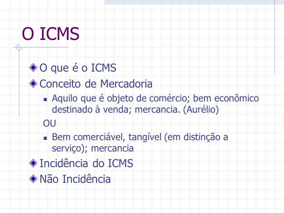 O ICMS Alíquotas Dependente da essencialidade:  Perfumes, fumo, álcool – 25%  Serviços de Transporte, pães, frutas – 12%  Serviços, bens e mercadorias – 17%  Tijolo,telha,barro – 7%