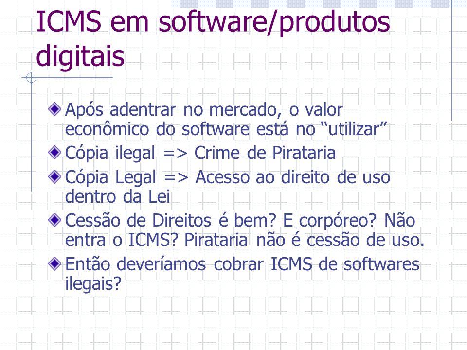 Diferenças entre produtos virtuais e reais Software não é mercadoria Produtos digitais não se enquadram na Legislações Tributária tradicional.