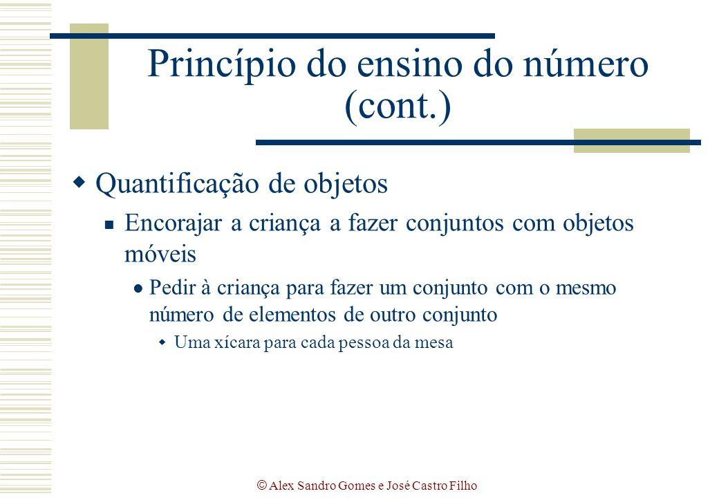© Alex Sandro Gomes e José Castro Filho Princípio do ensino do número (cont.)  Quantificação de objetos Encorajar a criança a fazer conjuntos com obj