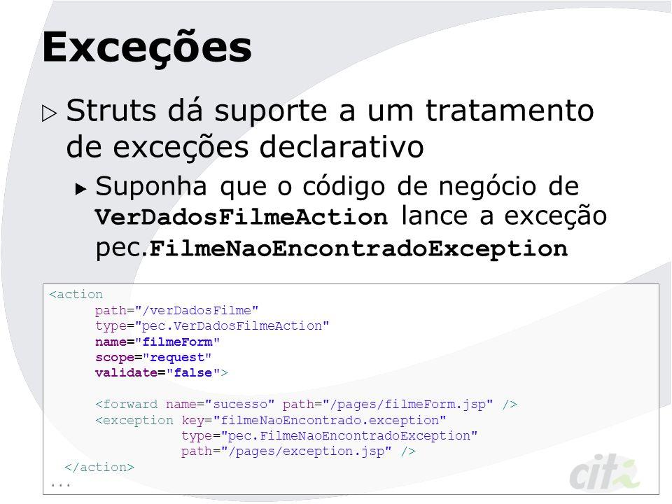 Exceções  Struts dá suporte a um tratamento de exceções declarativo  Suponha que o código de negócio de VerDadosFilmeAction lance a exceção pec. Fil