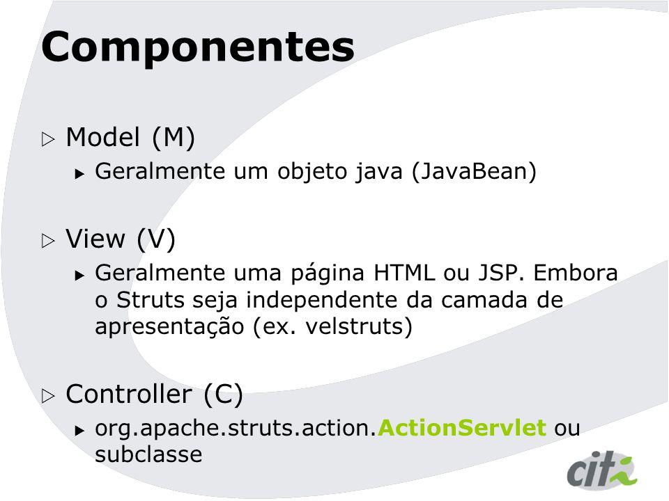 Componentes  Classes ajudantes  FromBean: Encapsula dados de um formulário HTML (M)  ActionError(s): Encapsula dados de Erros (M) (deprecated 1.2)  ActionMessage(s): Encapsula dados de Mensagens (M)  Custon tags: Encapsulam lógica de apresentação (V)  Actions: implementam lógica comandos (C)  ActionForward: Encapsulam lógica de redirecionamento (C)