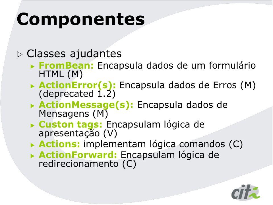 ActionForm Formulário (HTML/JSP) Request recebido pelo controler Chama reset() Guarda o ActionForm no escopo desejado Cria ou recicla um ActionForm Popula ActionForm a partir do request Chama validate() do ActionForm Dá um forward para sucesso Chama execute() do Action Dá um forward para o input Formulário (HTML/JSP) Página Sucesso (HTML/JSP) Com menssagens de erro.