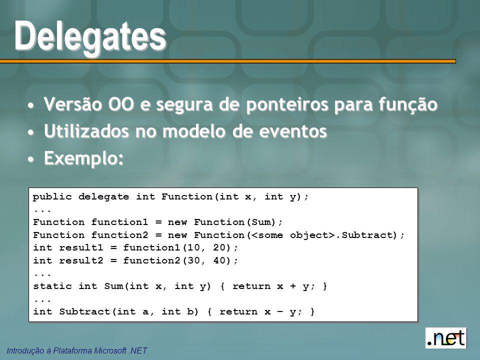 Introdução à Plataforma Microsoft.NET Delegates Versão OO e segura de ponteiros para funçãoVersão OO e segura de ponteiros para função Utilizados no m