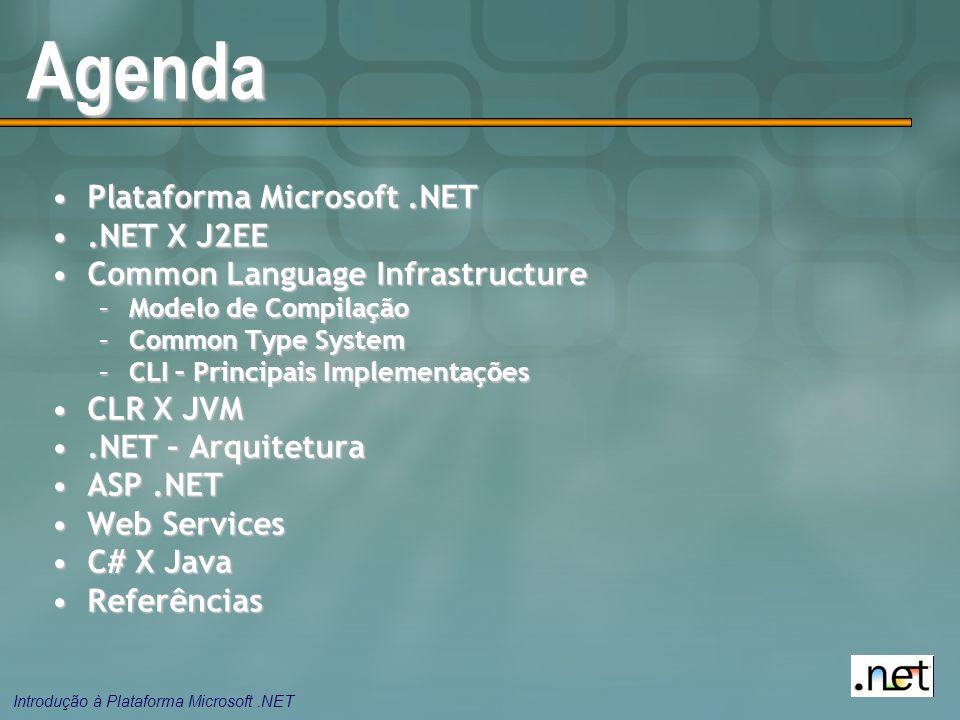 Introdução à Plataforma Microsoft.NET Agenda Plataforma Microsoft.NETPlataforma Microsoft.NET.NET X J2EE.NET X J2EE Common Language InfrastructureCommon Language Infrastructure –Modelo de Compilação –Common Type System –CLI – Principais Implementações CLR X JVMCLR X JVM.NET – Arquitetura.NET – Arquitetura ASP.NETASP.NET Web ServicesWeb Services C# X JavaC# X Java ReferênciasReferências