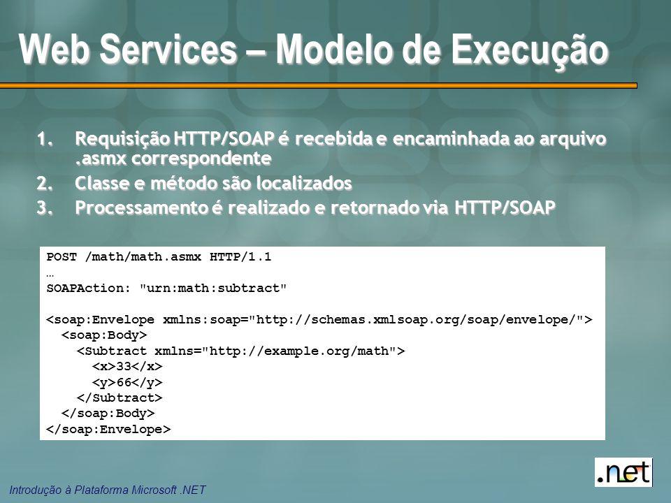 Introdução à Plataforma Microsoft.NET Web Services – Modelo de Execução 1.Requisição HTTP/SOAP é recebida e encaminhada ao arquivo.asmx correspondente 2.Classe e método são localizados 3.Processamento é realizado e retornado via HTTP/SOAP POST /math/math.asmx HTTP/1.1 … SOAPAction: urn:math:subtract 33 66