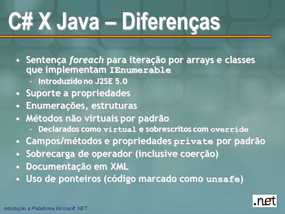 Introdução à Plataforma Microsoft.NET C# X Java – Diferenças Sentença foreach para iteração por arrays e classes que implementam IEnumerableSentença foreach para iteração por arrays e classes que implementam IEnumerable –Introduzido no J2SE 5.0 Suporte a propriedadesSuporte a propriedades Enumerações, estruturasEnumerações, estruturas Métodos não virtuais por padrãoMétodos não virtuais por padrão –Declarados como virtual e sobrescritos com override Campos/métodos e propriedades private por padrãoCampos/métodos e propriedades private por padrão Sobrecarga de operador (inclusive coerção)Sobrecarga de operador (inclusive coerção) Documentação em XMLDocumentação em XML Uso de ponteiros (código marcado como unsafe )Uso de ponteiros (código marcado como unsafe )
