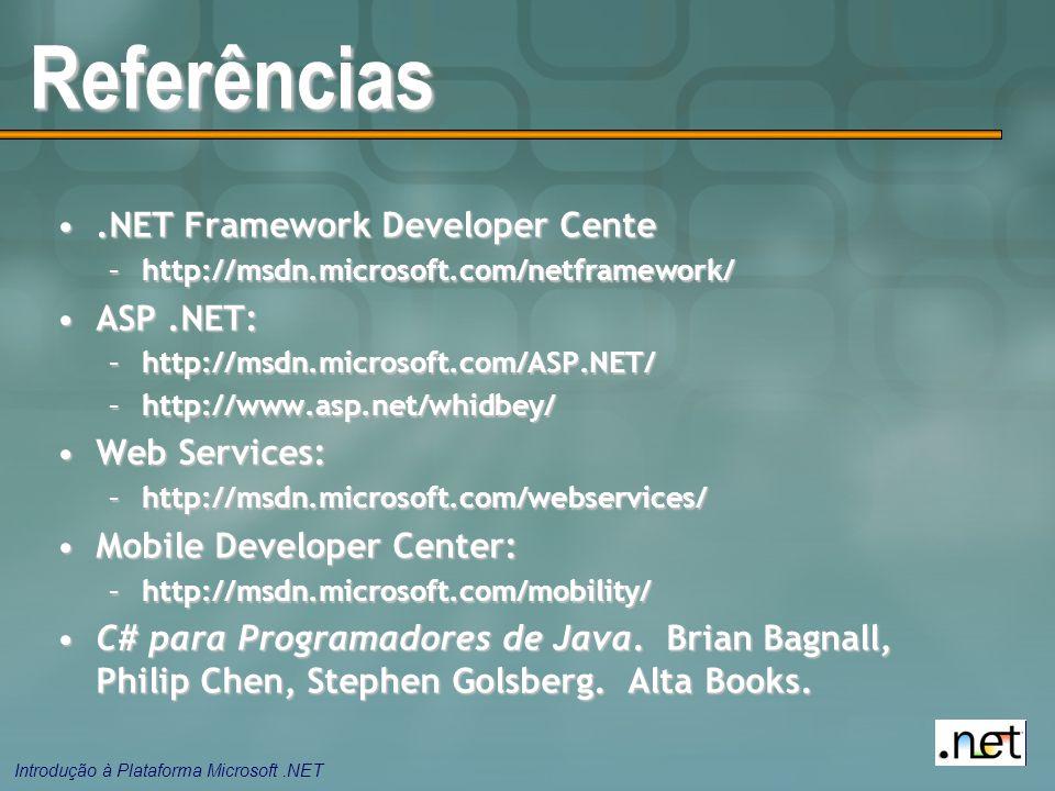 Introdução à Plataforma Microsoft.NET Referências.NET Framework Developer Cente.NET Framework Developer Cente –http://msdn.microsoft.com/netframework/