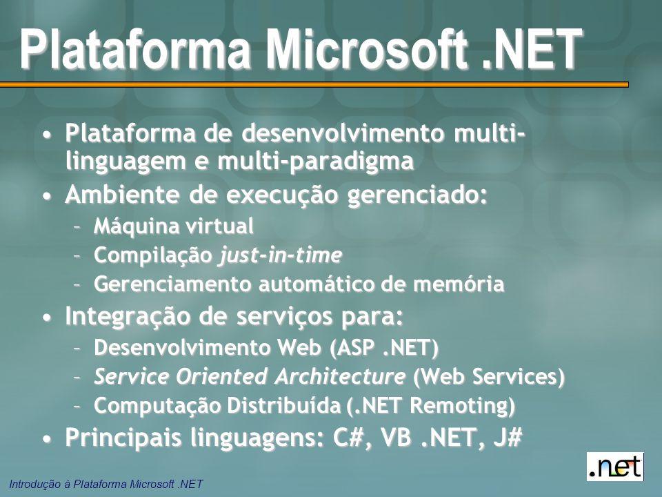 Introdução à Plataforma Microsoft.NET Plataforma Microsoft.NET Plataforma de desenvolvimento multi- linguagem e multi-paradigmaPlataforma de desenvolvimento multi- linguagem e multi-paradigma Ambiente de execução gerenciado:Ambiente de execução gerenciado: –Máquina virtual –Compilação just-in-time –Gerenciamento automático de memória Integração de serviços para:Integração de serviços para: –Desenvolvimento Web (ASP.NET) –Service Oriented Architecture (Web Services) –Computação Distribuída (.NET Remoting) Principais linguagens: C#, VB.NET, J#Principais linguagens: C#, VB.NET, J#