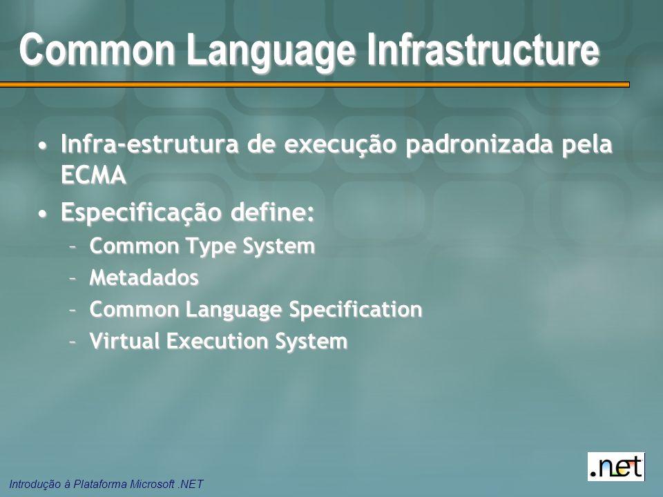 Introdução à Plataforma Microsoft.NET Common Language Infrastructure Infra-estrutura de execução padronizada pela ECMAInfra-estrutura de execução padronizada pela ECMA Especificação define:Especificação define: –Common Type System –Metadados –Common Language Specification –Virtual Execution System