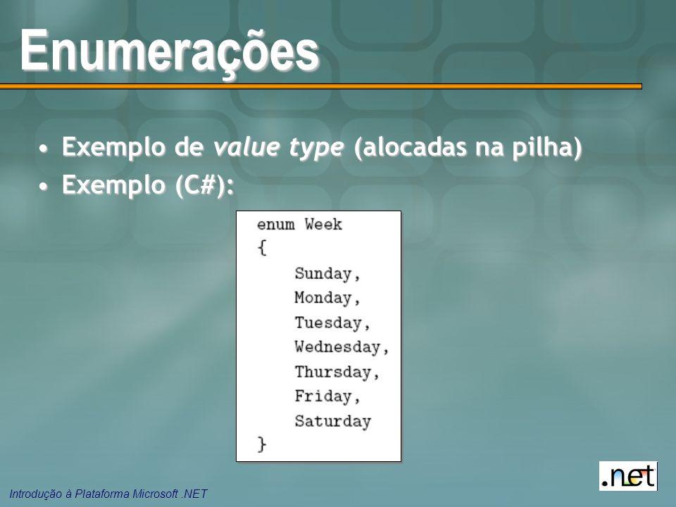 Introdução à Plataforma Microsoft.NET Enumerações Exemplo de value type (alocadas na pilha)Exemplo de value type (alocadas na pilha) Exemplo (C#):Exemplo (C#):