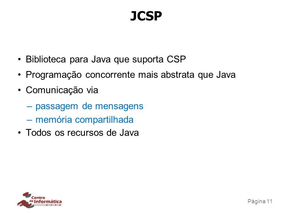 Página 11 JCSP Biblioteca para Java que suporta CSP Programação concorrente mais abstrata que Java Comunicação via –passagem de mensagens –memória com