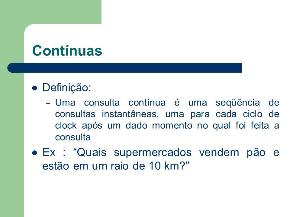 Contínuas Definição: – Uma consulta contínua é uma seqüência de consultas instantâneas, uma para cada ciclo de clock após um dado momento no qual foi