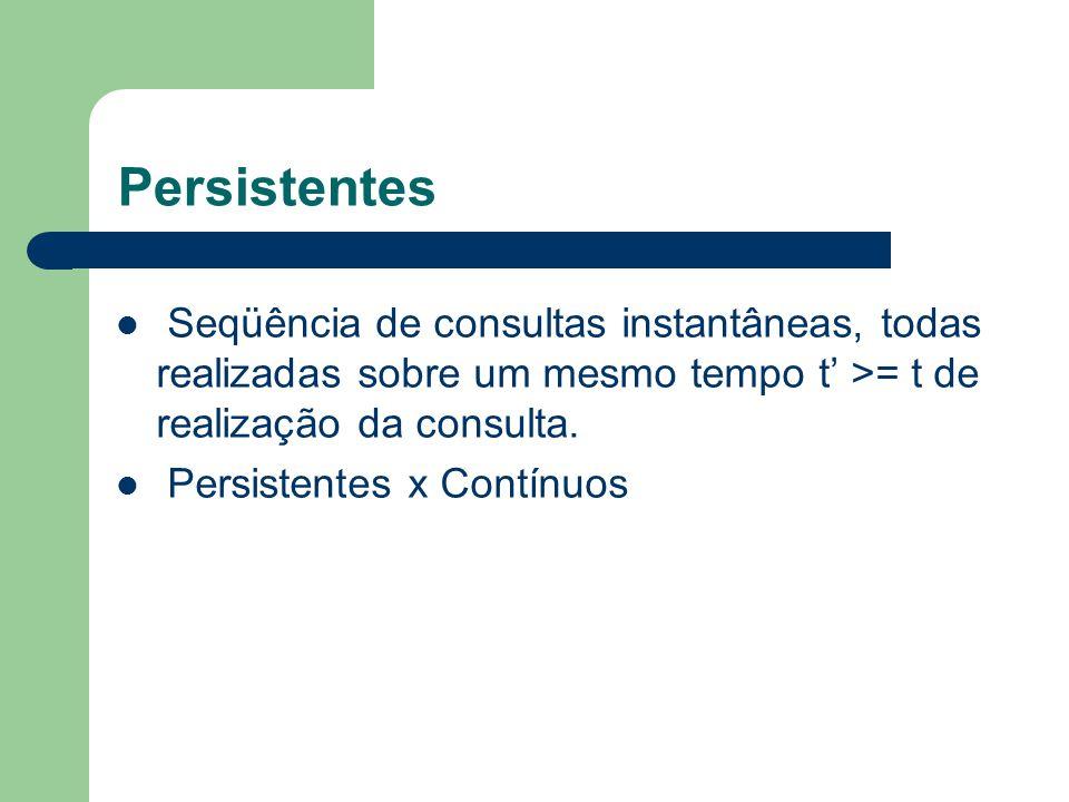 Persistentes Seqüência de consultas instantâneas, todas realizadas sobre um mesmo tempo t' >= t de realização da consulta. Persistentes x Contínuos
