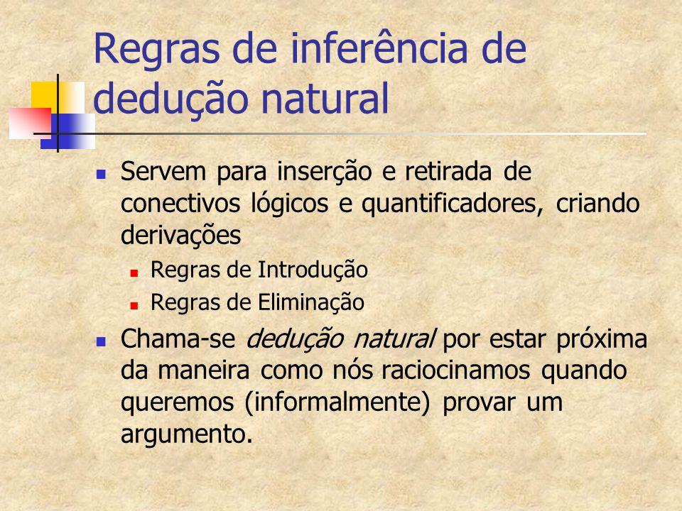 Regras de inferência de dedução natural Servem para inserção e retirada de conectivos lógicos e quantificadores, criando derivações Regras de Introduç