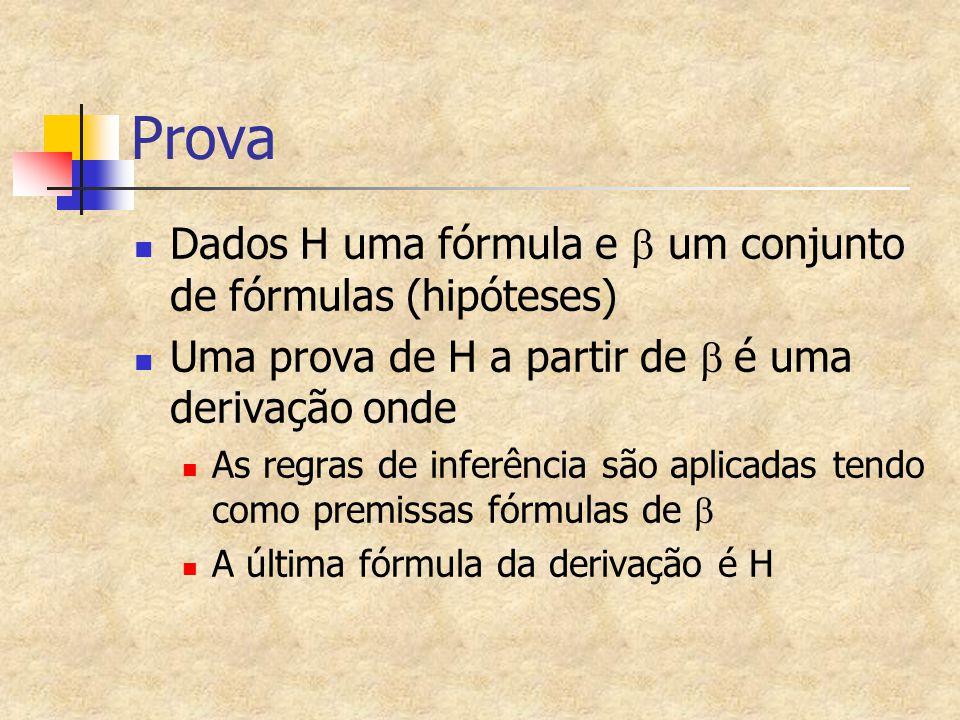 Prova Dados H uma fórmula e  um conjunto de fórmulas (hipóteses) Uma prova de H a partir de  é uma derivação onde As regras de inferência são aplic