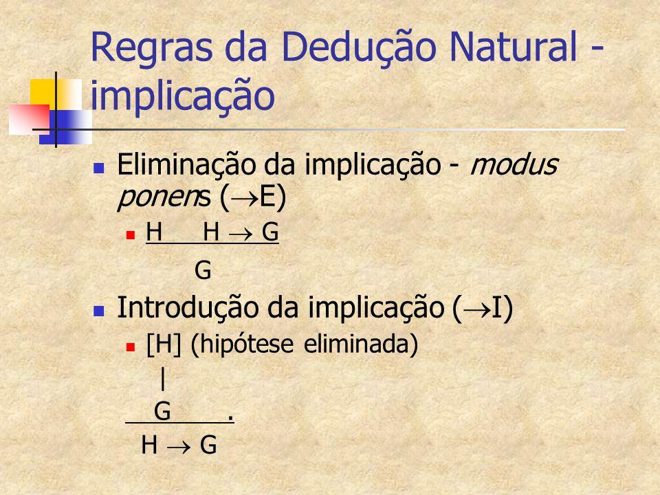 Regras da Dedução Natural - implicação Eliminação da implicação - modus ponens (  E) H H  G G Introdução da implicação (  I) [H] (hipótese eliminad