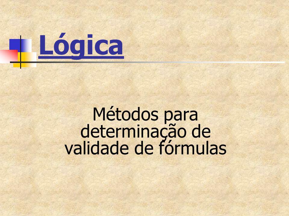Lógica Métodos para determinação de validade de fórmulas