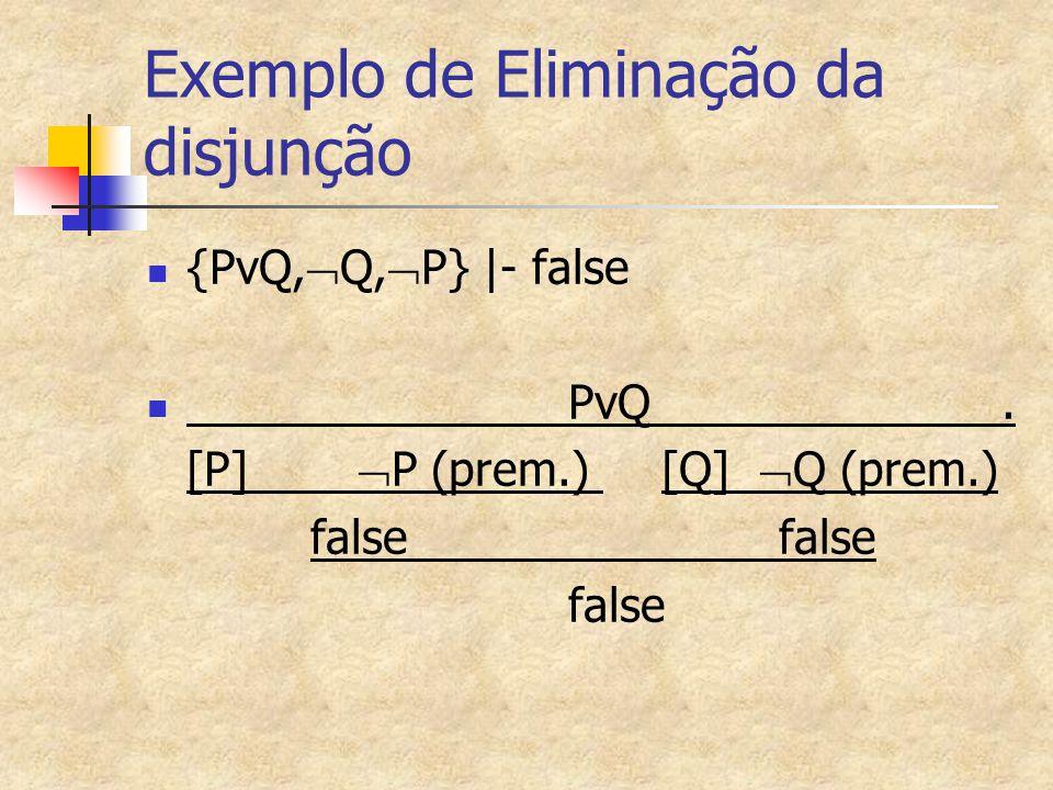 Exemplo de Eliminação da disjunção {PvQ,  Q,  P}  - false PvQ. [P]  P (prem.) [Q]  Q (prem.) falsefalse false
