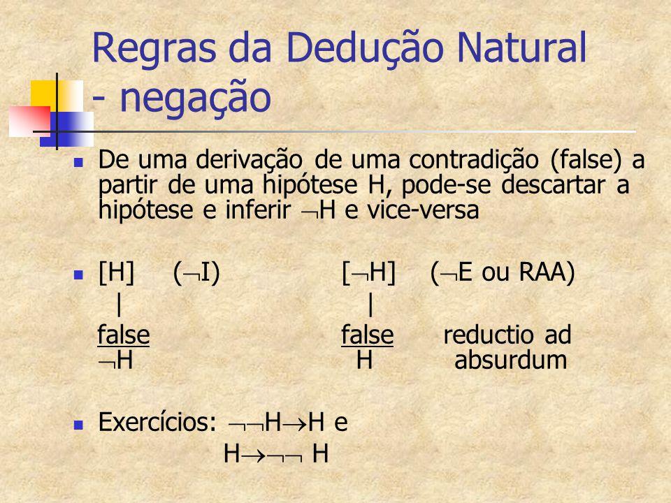 Regras da Dedução Natural - negação De uma derivação de uma contradição (false) a partir de uma hipótese H, pode-se descartar a hipótese e inferir  H