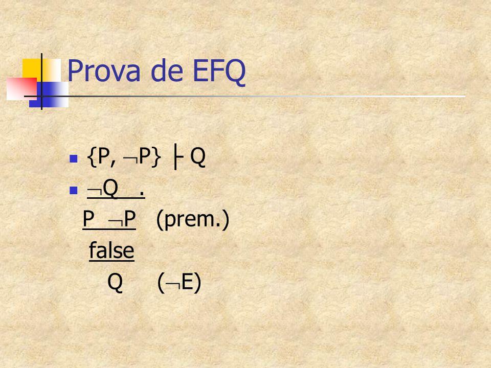 Prova de EFQ {P,  P} ├ Q  Q. P  P (prem.) false Q (  E)