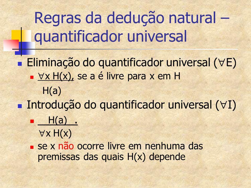 Regras da dedução natural – quantificador universal Eliminação do quantificador universal (  E)  x H(x), se a é livre para x em H H(a) Introdução do