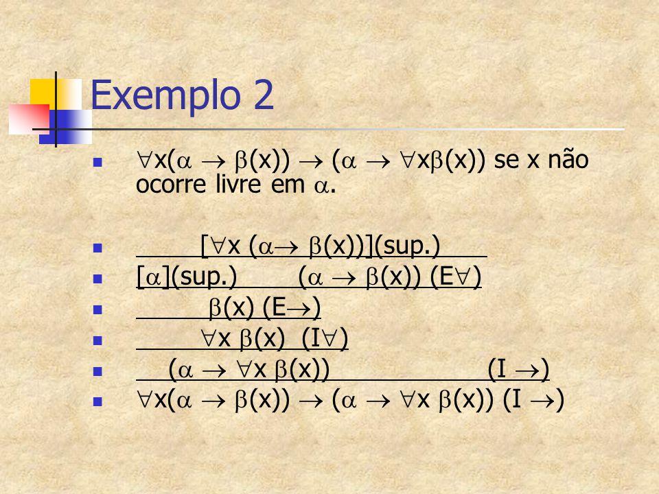 Exemplo 2  x(    (x))  (    x  (x)) se x não ocorre livre em . [  x (   (x))](sup.) [  ](sup.) (    (x)) (E  )  (x) (E  )  x  (