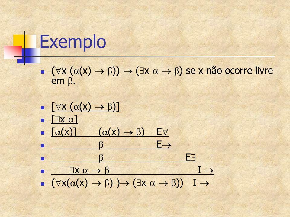 Exemplo (  x (  (x)   ))  (  x    ) se x não ocorre livre em . [  x (  (x)   )] [  x  ] [  (x)](  (x)   )E   E   E   x   