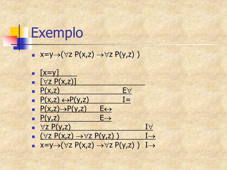 Exemplo x=y  (  z P(x,z)  z P(y,z) ) [x=y] [  z P(x,z)] P(x,z)E  P(x,z)  P(y,z)I= P(x,z)  P(y,z)E  P(y,z)E   z P(y,z)I  (  z P(x,z)  z