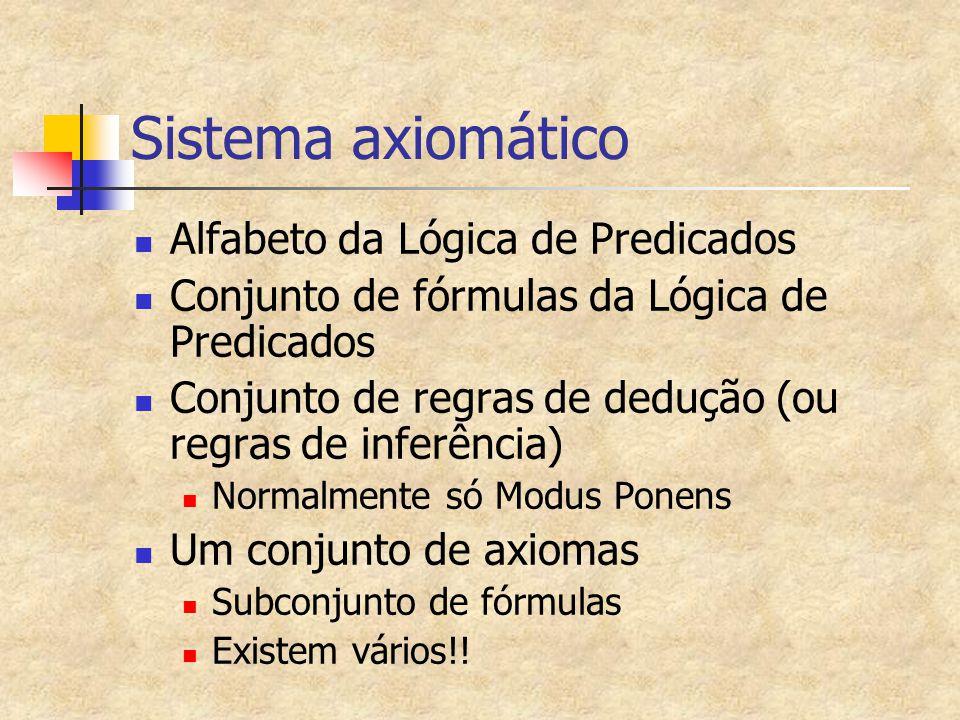 Sistema axiomático Alfabeto da Lógica de Predicados Conjunto de fórmulas da Lógica de Predicados Conjunto de regras de dedução (ou regras de inferênci