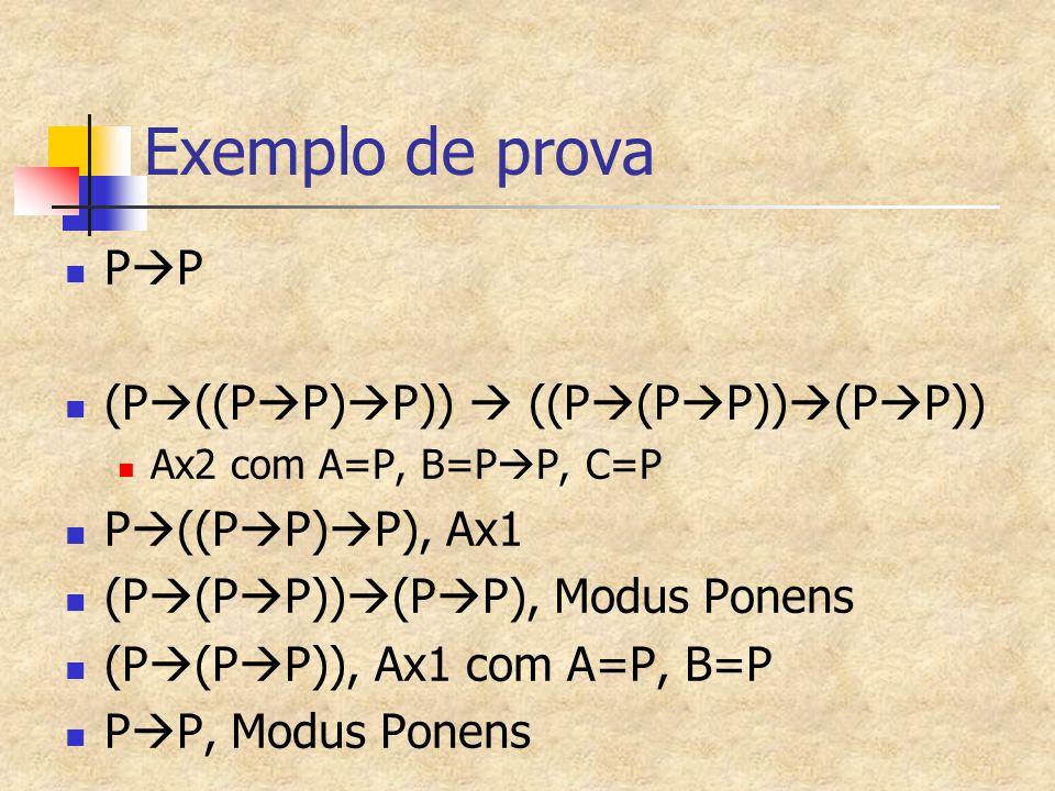 Exemplo de prova P  P (P  ((P  P)  P))  ((P  (P  P))  (P  P)) Ax2 com A=P, B=P  P, C=P P  ((P  P)  P), Ax1 (P  (P  P))  (P  P), Modus