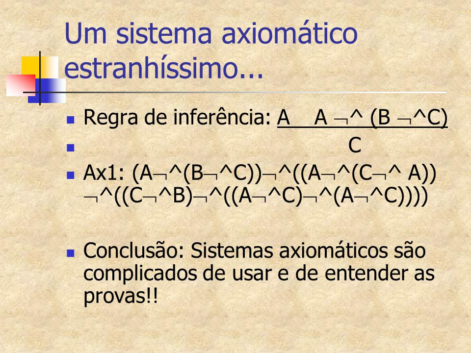 Um sistema axiomático estranhíssimo... Regra de inferência: A A  ^ (B  ^C) C Ax1: (A  ^(B  ^C))  ^((A  ^(C  ^ A))  ^((C  ^B)  ^((A  ^C)  ^