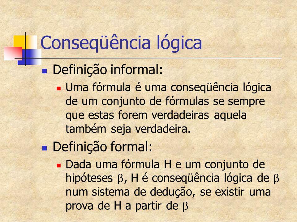 Notação de Conseqüência Lógica e Teorema Dada uma fórmula H, se H é conseqüência lógica de um conjunto de hipóteses  ={H1,H2,...Hn}, diz-se que:  ├ H ou {H1,H2,...Hn} ├ H Uma fórmula H é um teorema se existe uma prova de H que não usa hipóteses ├ H
